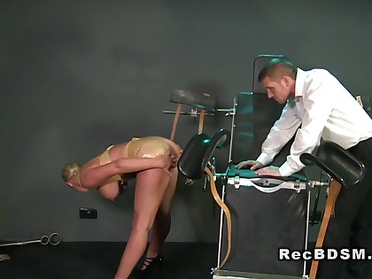 Huge tittied sub gets cunt vibed encircling bdsm