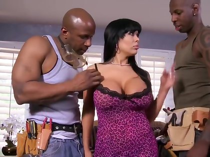 latin busty tattooed battle-axe with a handful of black cocks