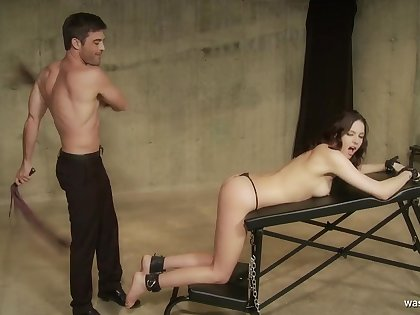 What now, Master? young duteous brunette spanked in bondage