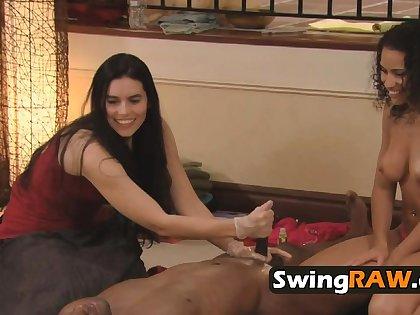 Sexual tension between swapped swingers
