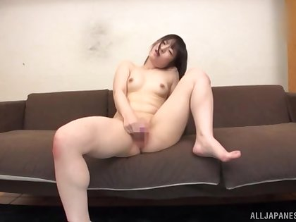Amazing masturbating session in front of the camera with Momokou Kanon