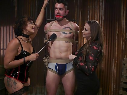 Hot mistress Chanel Preston and her assistant fuck one tied up submissive impoverish