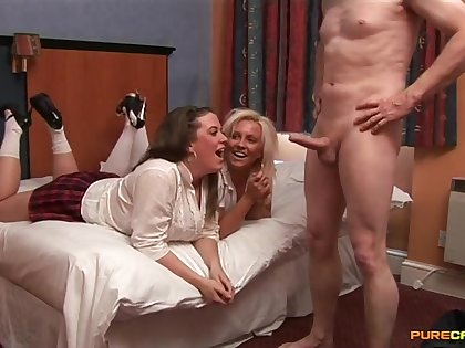 Video of an older chap getting awe by Carly Treanor and Sasha Blue