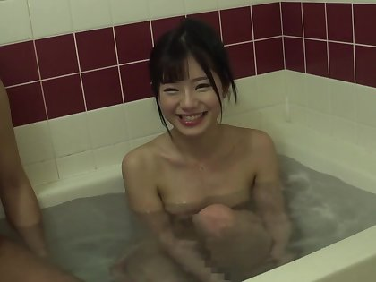 Cute asian fucked after bath