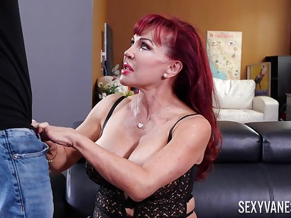 Giant breasted mature Latina redhead Sexy Vanessa gives fabulous blowjob
