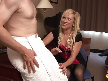 Pale dude gets his dick stroked unconnected with good-looking blonde Axa Jay