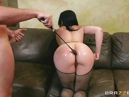 Lover spanks Skyla Novea's hot hindquarters with a crop before hot sex