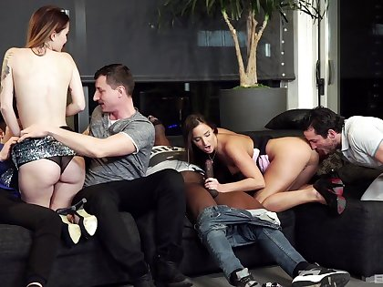 Nude dilettante battalion replacement partners encircling dirty interracial foursome