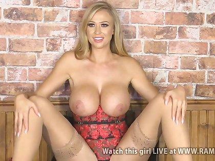 Blonde Sophi Reade - Big fake tits solo on webcam