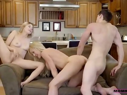 Brandi Carry chum around with annoy is having a threesome with a younger couple stranger chum around with annoy neighborhood, just for fun