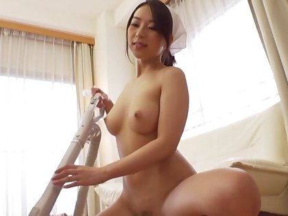 Sweet Japanese gal Hachino Tsubasa gives head and gets fucked