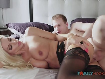 Sizzling blnde COUGAR is crippling softcore, dark-hued stocking while having fuck-a-thon with say no to spouse's mate