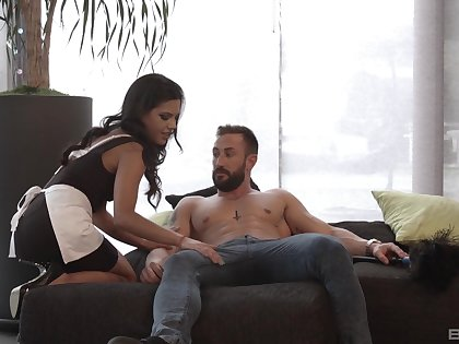 Gal undresses for scrounger and gets laid like a whore